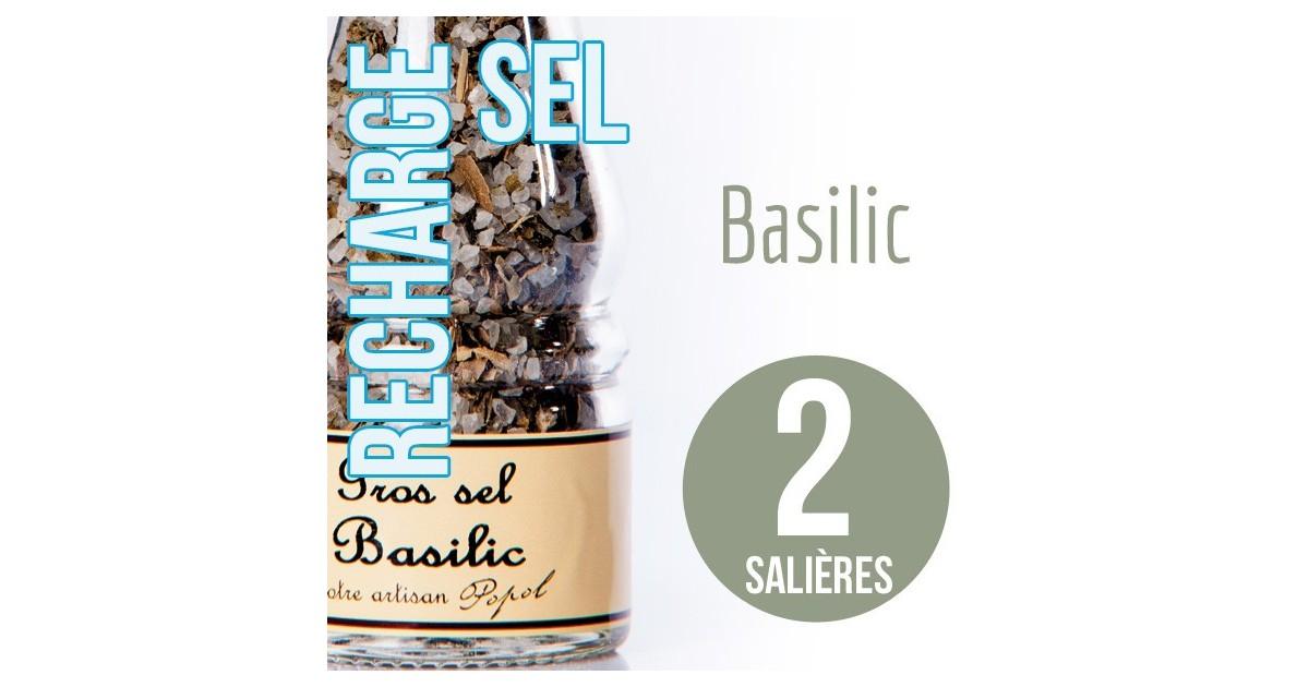 Sel basilic recharge pour 2 salières 170g