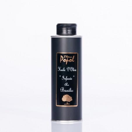 Bidon huile infusée basilic 250 ml Rond Noir